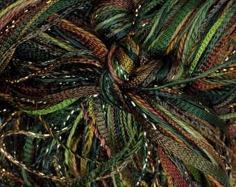 Hand Dyed Embroidery Thread, Peat Bog, One Off Special, Limited Edition, Textured Threads, Variegated Threads
