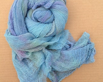 Hand Dyed Cotton Scrim, Gauze, Art Cloth, Scarf for nuno felting, art and mixed media projects, No.80 Sky Blue Pink