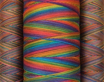 Cotton Machine Thread, Hand Dyed, Rainbow Dyed, Egyptian Giza Cotton, Mercerised Quilting Cotton, Machine Embroidery Thread, 750m and 150m