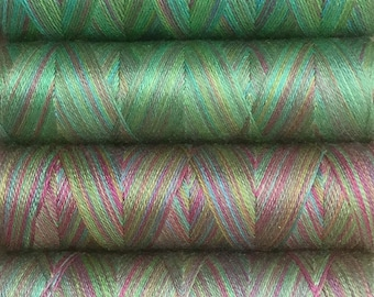 Green Selection, Hand Dyed Silk Machine Threads, Connoisseur Pack, Luxury Machine Thread, Set of 10 x 120m (130yds)