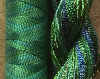 Two of a Kind, No.55 Holly - Hand Dyed Cotton and Viscose Thread Selection, Hand Dyed Embroidery Threads, Hand Dyed Machine Quilting Thread
