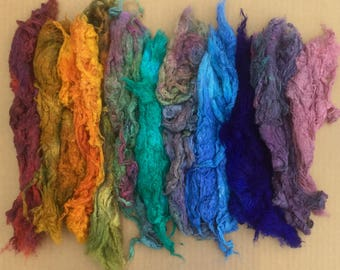 Hand Dyed Mulberry Silk Noils, Hand Dyed Noils,  Feltmaking, Spinning Supply, Silk Papermaking, 50g (1.8ounces)