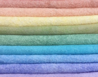Hand Dyed Wool and Viscose Felt, choose from pastel colours across the spectrum