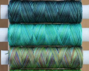 Mediterranean, Hand Dyed Cotton Machine Embroidery Thread, Machine Quilting Thread, Tatting, Crochet, Creative Embroidery/Quilting