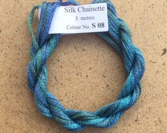 Silk Chainette No.08 Lagoon, Hand Dyed Embroidery Thread, Artisan Thread, Textile Art