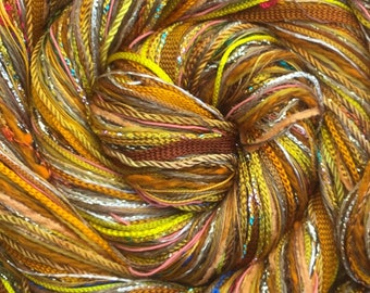 Yellow Ochre Happy Bag, Mixed Thread Selection, Hand Dyed Cotton Threads, Viscose Threads, Pack colour choices across the spectrum