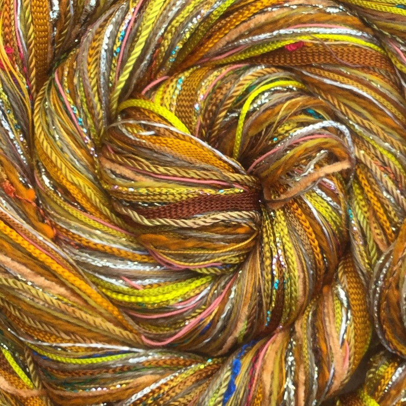 Yellow Ochre Happy Bag Mixed Thread Selection Hand Dyed image 0