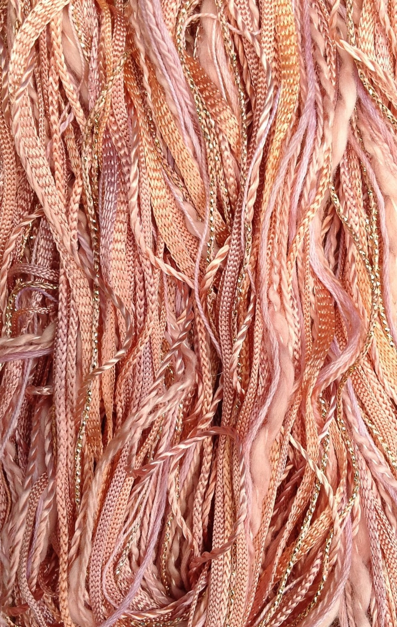 No.43 Peach One Off Variegated Threads Hand Dyed Embroidery Threads Textile Art Supply Hand Dyed Cotton and Viscose Thread Selection
