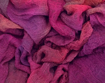Hand Dyed Cotton Scrim, 6 metre length, No.17 Ruby, openweave Fabric, Cotton Gauze, Table Runner, Photography Prop, Nuno Felting