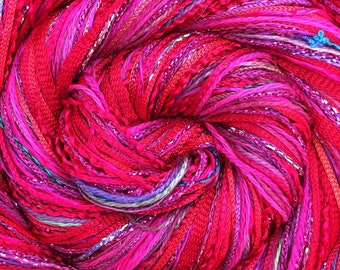 Cerise Happy Bag, Mixed Thread Selection, Hand Dyed Cotton Threads, Viscose Threads, Pack colour choices across the spectrum
