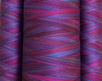 Multicoloured, Hand Dyed Cotton Machine Quilting or Embroidery Thread, Eygyptian Cotton 40wt., 150m (162yds) or 750m (820yds) Ref.SM08