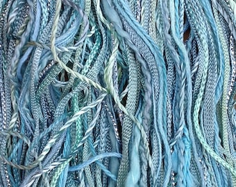One Off, No.33 Aquamarine, Hand Dyed Cotton and Viscose Thread Selection.