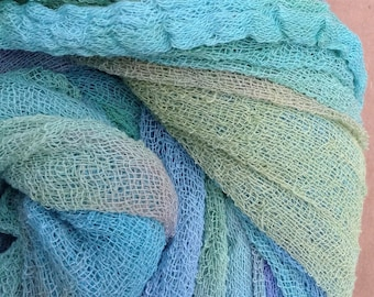Hand Dyed Cotton Scrim, Gauze, Art Cloth, Scarf for nuno felting, art and mixed media projects, No.39 Pistachio