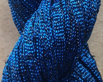 Hand Dyed Sparkle Viscose Ribbon, 10/167 Viscose Ribbon,  Embroidery, Thread, Canvaswork, Colour Teal and Black Lurex