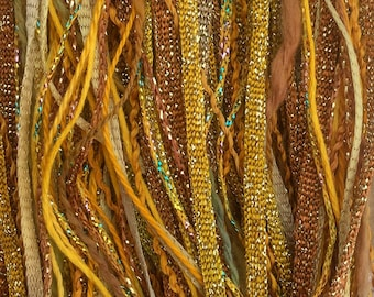 Hand Dyed Embroidery Threads, Gold, One Off Special, Limited Edition, Hand Dyed Embroidery Thread, Variegated Threads, 40m (43yds)