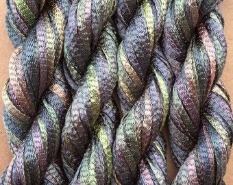 Hand Dyed Viscose Ribbon, 10/167 Viscose Ribbon, Rayon Ribbon, Embroidery, Thread, Canvaswork, Needlepoint, Medium Tones of  No.56 Pebble