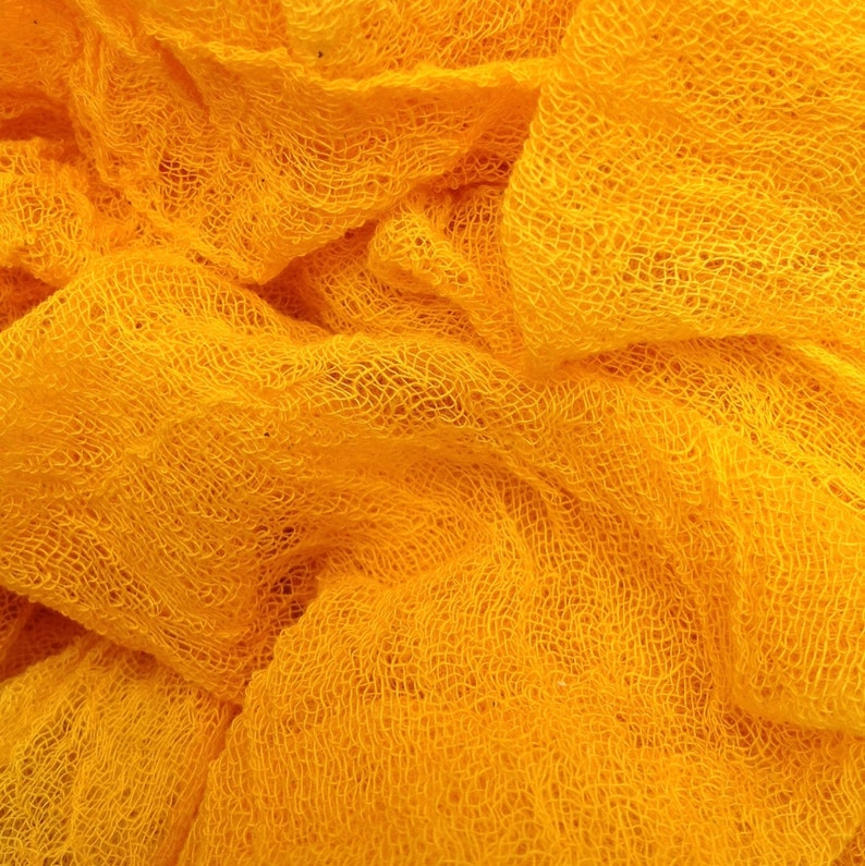 Colour No.51 Daffodil Art Cloth for Mixed Media Projects Butter Muslin Scarf for Nuno Felting Hand Dyed Cotton Scrim Openweave