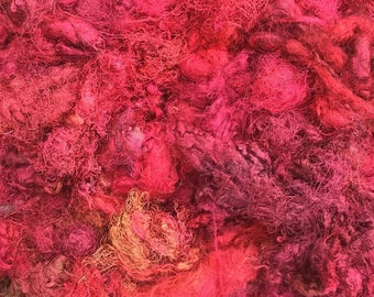 Silk Throwsters Waste, Silk Filament Waste, Hand Dyed Mulberry Silk Waste Fibre, Colour Bright Reds