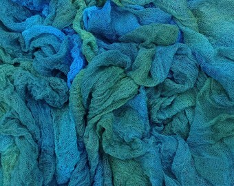 Hand Dyed Cotton Scrim, Gauze, Art Cloth, Scarf for nuno felting, art and mixed media projects.  Col.No. 08 Lagoon - Blue, Teal, Turquoise