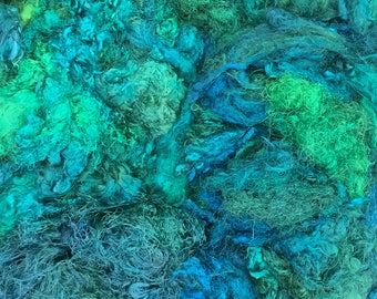 Silk Throwsters Waste, Silk Filament Waste, Hand Dyed Mulberry Silk Waste Fibre, Colour No.20 Jade