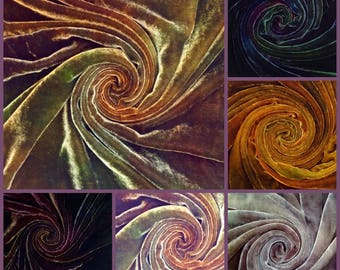 Hand Dyed Silk/Viscose Velvet remnant pack, miscellaneous selection of sizes and colours (our choice)