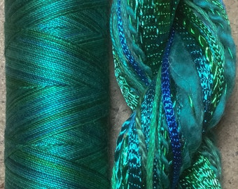 Hand Dyed Embroidery Threads, Hand Dyed Quilting Threads, Two of a Kind, No.20 Jade, Art Threads, Creative Embroidery, Needlepoint