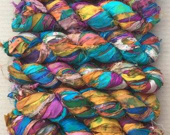 Sari Silk Ribbon Overdyed, Variegated Sari Ribbon,  Silk Ribbon, Wide Silk Ribbon, Colour - Multicoloured