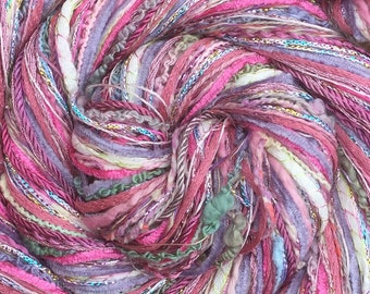 Pink Happy Bag, Mixed Thread Selection, Hand Dyed Cotton Threads, Viscose Threads, Pack colours across the spectrum