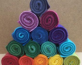 Felt Rolls, Hand Dyed Wool and Viscose Felt, 3 Piece Felt Selection
