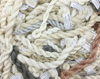 Neutral Thread Selection, Undyed Silk, Viscose, Cotton, Embroidery Thread, Artisan Thread, Textile Art