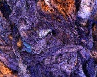 Hand Dyed Silk Noil, Navy, Aubergine, Burnt Orange, Peach mix, Mulberry Silk Fibres, Spinning
