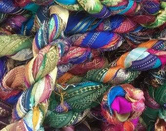 Metallic Border Sari Silk Ribbon, Variegated Sari Ribbon,  Silk Ribbon, Wide Silk Ribbon, Colour - Multicoloured