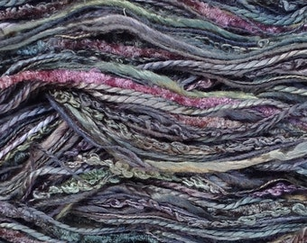 Hand Dyed Silk Thread Selection, Silk Chenille, Silk Boucle, Silk Bourette, Spun Silk, Embroidery, Textile Art, Silk One Off  No.71 Chestnut