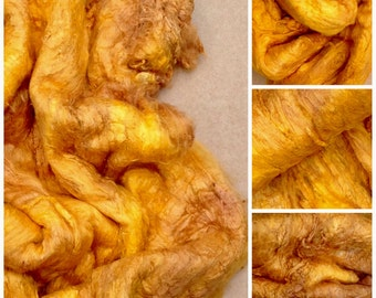Hand Dyed Mulberry Silk Laps, Colour No.07 Yellow Ochre, Textured Silk, Combed Silk Laps, Feltmaking, Spinning