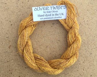 Silk Bourette No.07 Yellow Ochre, Hand Dyed Embroidery Thread, Artisan Thread, Textile Art, No.07 Yellow Ochre