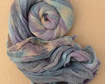 Cotton Scrim, Colour No.87 Grape, Hand Dyed Gauze, Openweave Fabric, Dyed Butter Muslin, Nuno felting, Textile Art Cloth