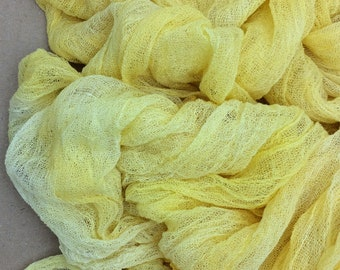 Hand dyed Cotton Scrim, Gauze, Lemon Sherbert, Art Cloth, Scarf for nuno felting, art and mixed media projects