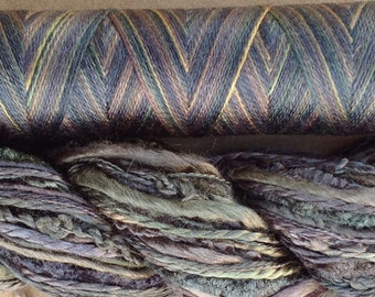 Silk Harmony, No.71 Chestnut, Mulberry Silk Combination - Hand Dyed Hand and Machine Threads in a combination Pack, Grey Tones