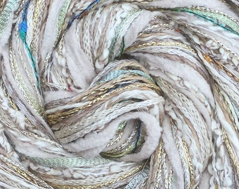 Beige Happy Bag, Mixed Thread Selection, Hand Dyed Cotton Threads, Viscose Threads, Pack colours across the spectrum