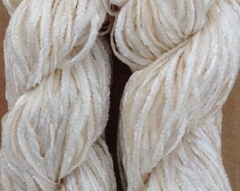 Silk Chenille, Silk Yarn, Weaving Yarn, Crochet Yarn, Natural, Undyed, Ivory,