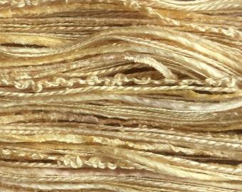 Silk One Off, Hand Dyed Silk Thread Selection, Silk Thread Mix, No.84 Buttermilk