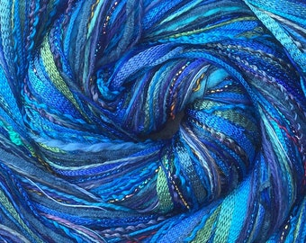 Blue Happy Bag, Mixed Thread Selection, Hand Dyed Cotton Threads, Viscose Threads, Pack colour choices across the spectrum