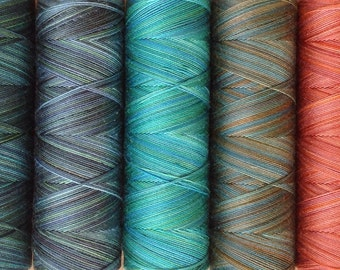 Hand Dyed Quilting Thread, Thread, Machine Quilting Thread, 40 Weight, Colour Patination,  Rust, Turquoise, Terra Cotta, Teal, Burnt Orange