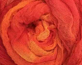 Hand Dyed Cotton Scrim, 6 metre length, Openweave, Cotton Gauze, Table Runner, Photography Prop, Nuno Felting, Colour No.13 Sunset
