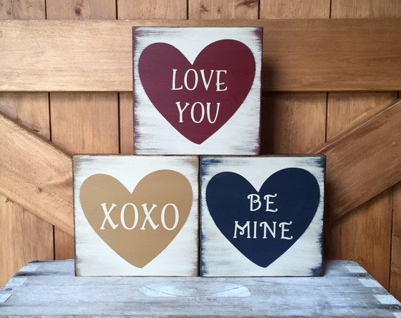 Wooden Valentines Day Signs Rustic Conversation Heart Blocks Etsy