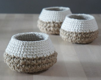 Tiny Crochet Basket - Crochet Pattern - Jute Crochet Basket