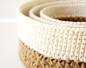 Stacking Baskets - 3 PDF Crochet Patterns - Jute and Cotton Nesting Bowls - Natural Materials - JaKiGu Pattern 301