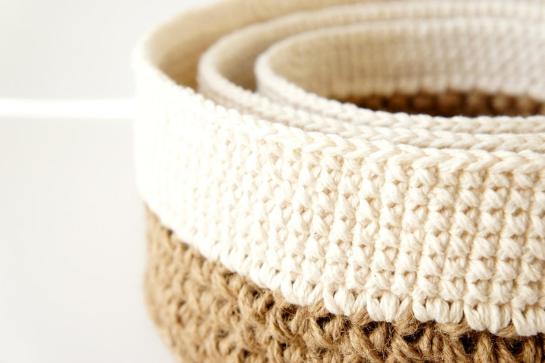 Stacking Baskets 3 Pdf Crochet Patterns Jute And Cotton Etsy