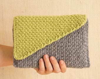 Crochet Clutch with Geometric Color Block Bias Flap - PDF Crochet Pattern
