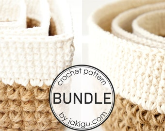 Crochet Pattern Bundle - Discount - Round and Square Jute and Cotton Stacking Baskets - JaKiGu Crochet Pattern